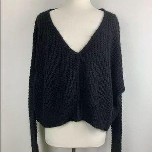 Free People Moonbeam Alpaca Sweater V Crop Blk S